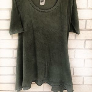 Free People Green Melrose Swing Top Tee S Small